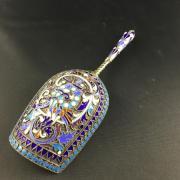 Серебряная лопатка с эмалью и позолотой 84 проба
