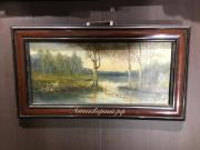 Картина старинная пейзаж на озере