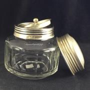 Старинная гранённая чайница с металлической крышкой