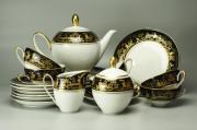 Чайный сервиз черно-белый в японском стиле