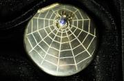 Пудреница Паук на паутине серебро