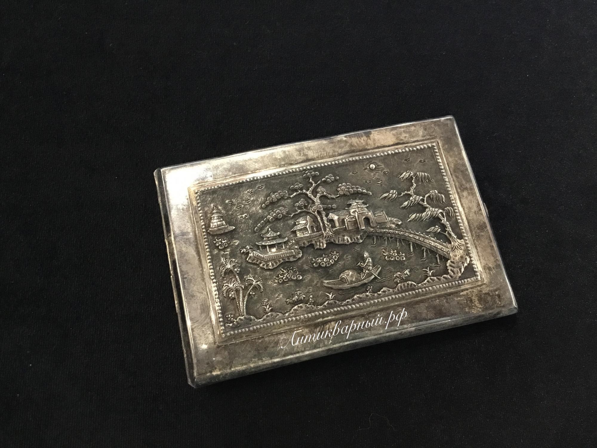 Серебряный портсигар 800проба Вьетнам