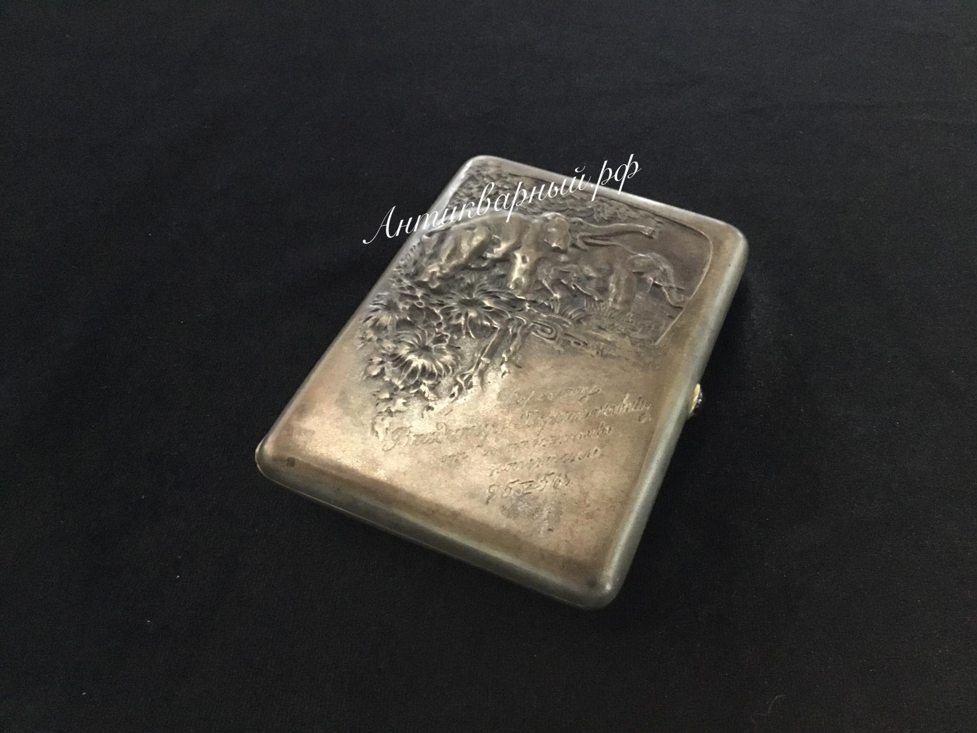 Портсигар серебряный Слоны.84проба