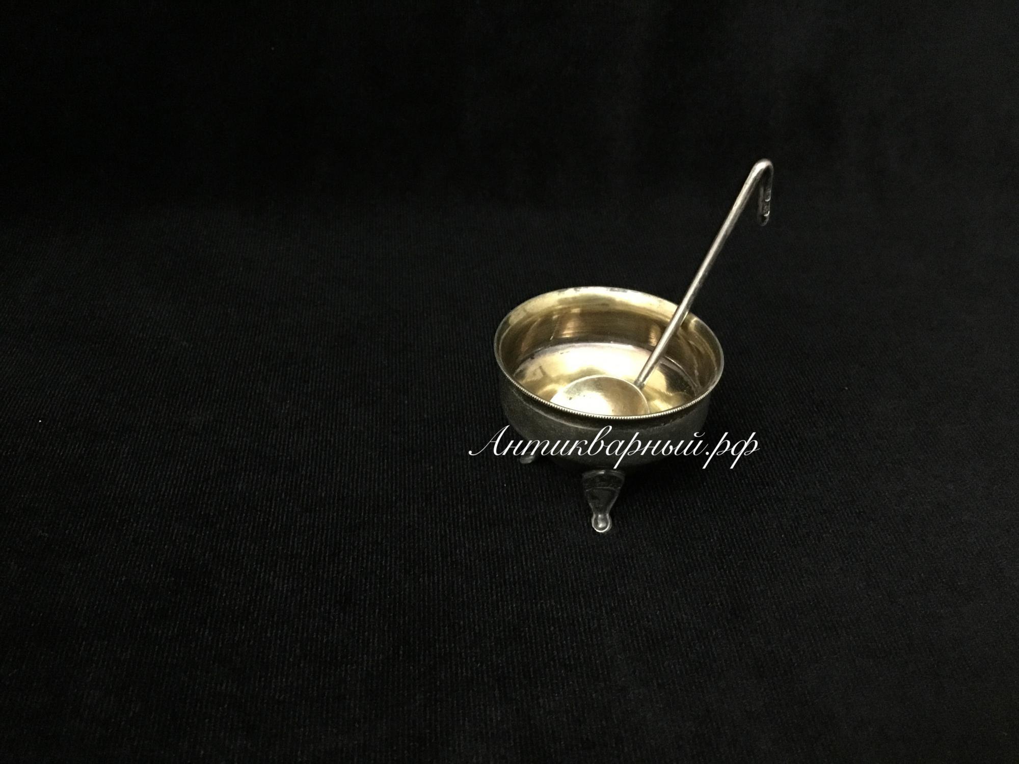 Серебряная солонка с ложечкой 875пробы