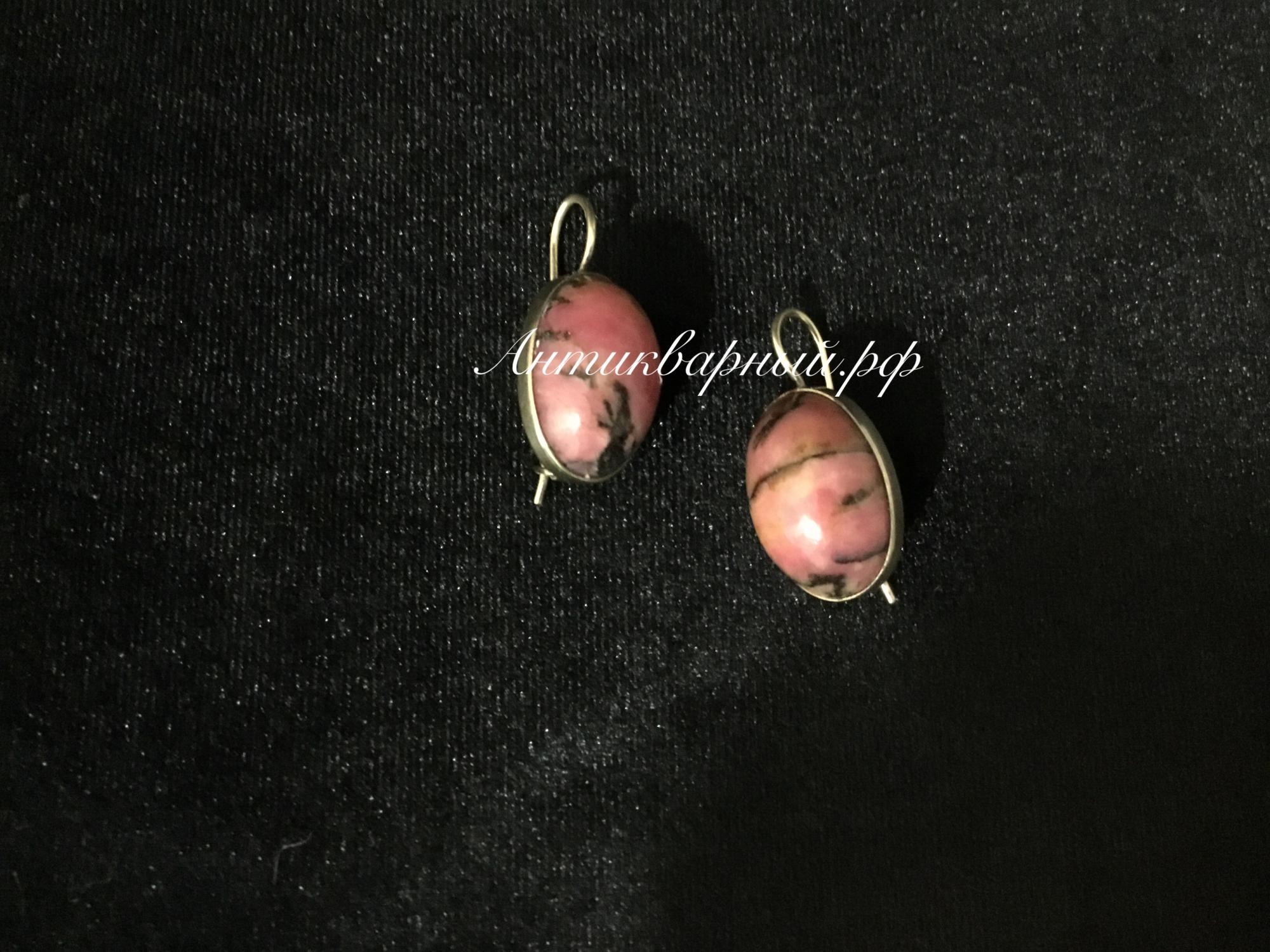 Серебряные серьги с позолотой,вставка Родонит