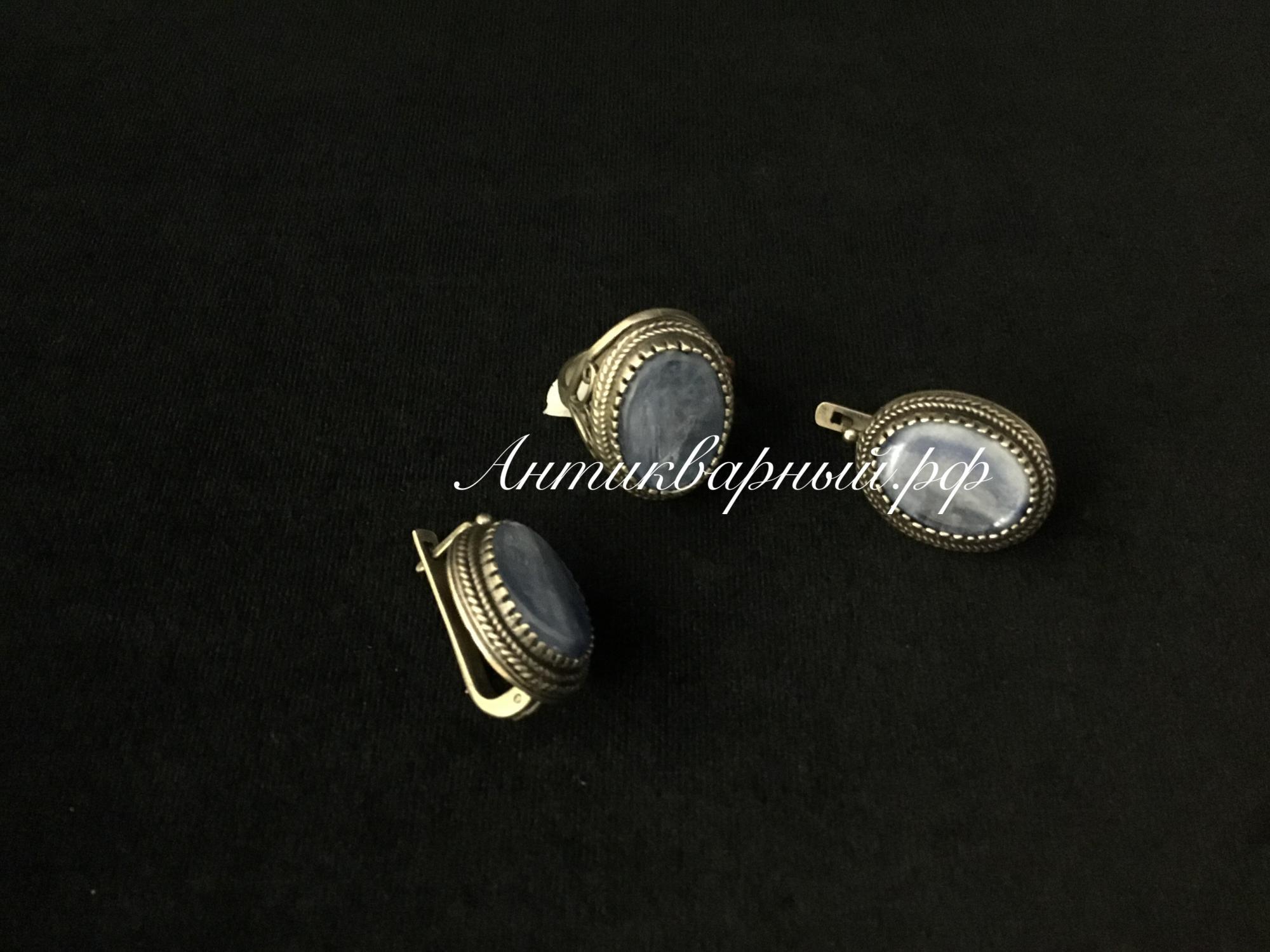 Набор кольцо+серьги с кианитом