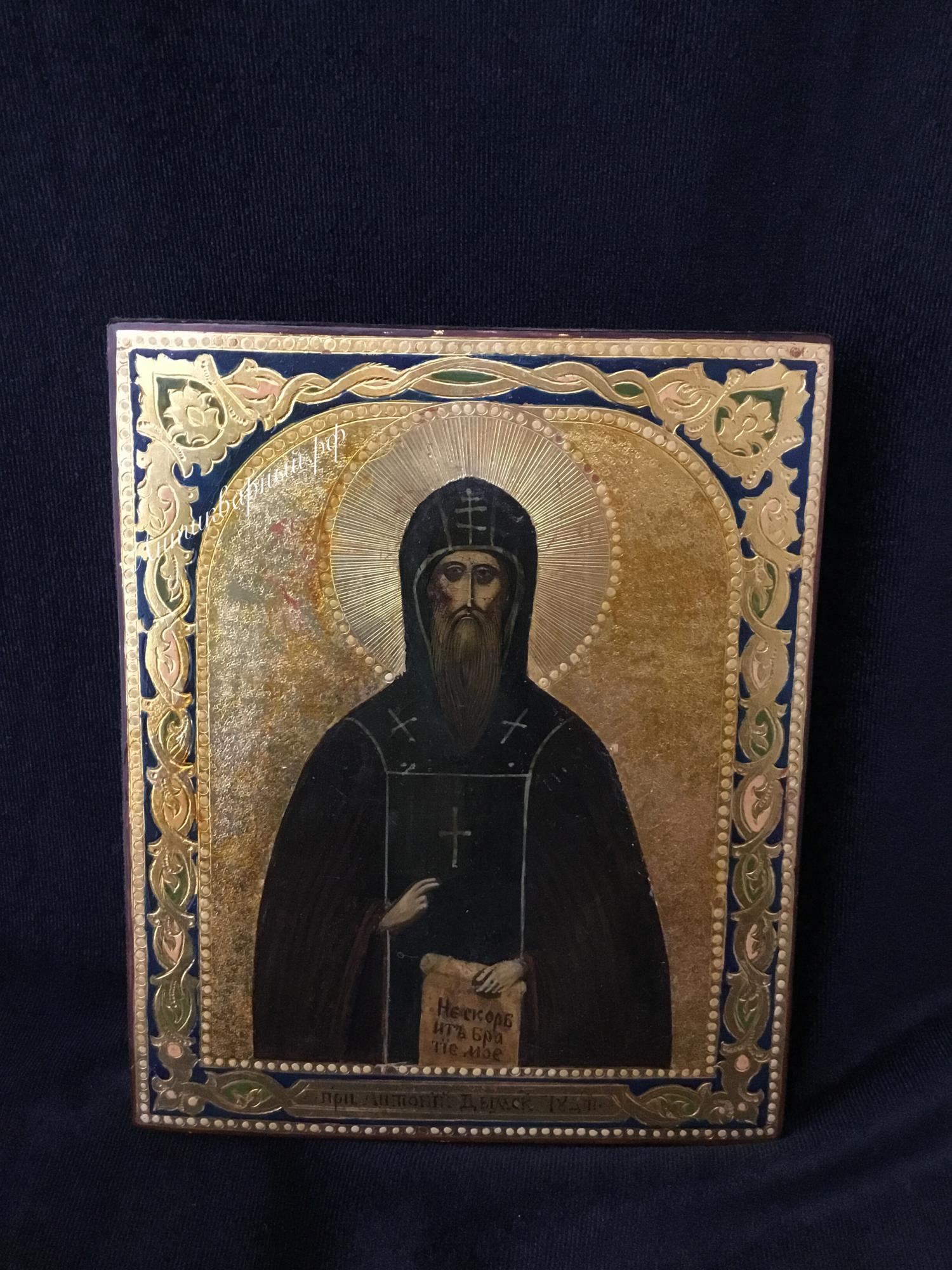 Старинная икона Преподобный Антоний Дымский