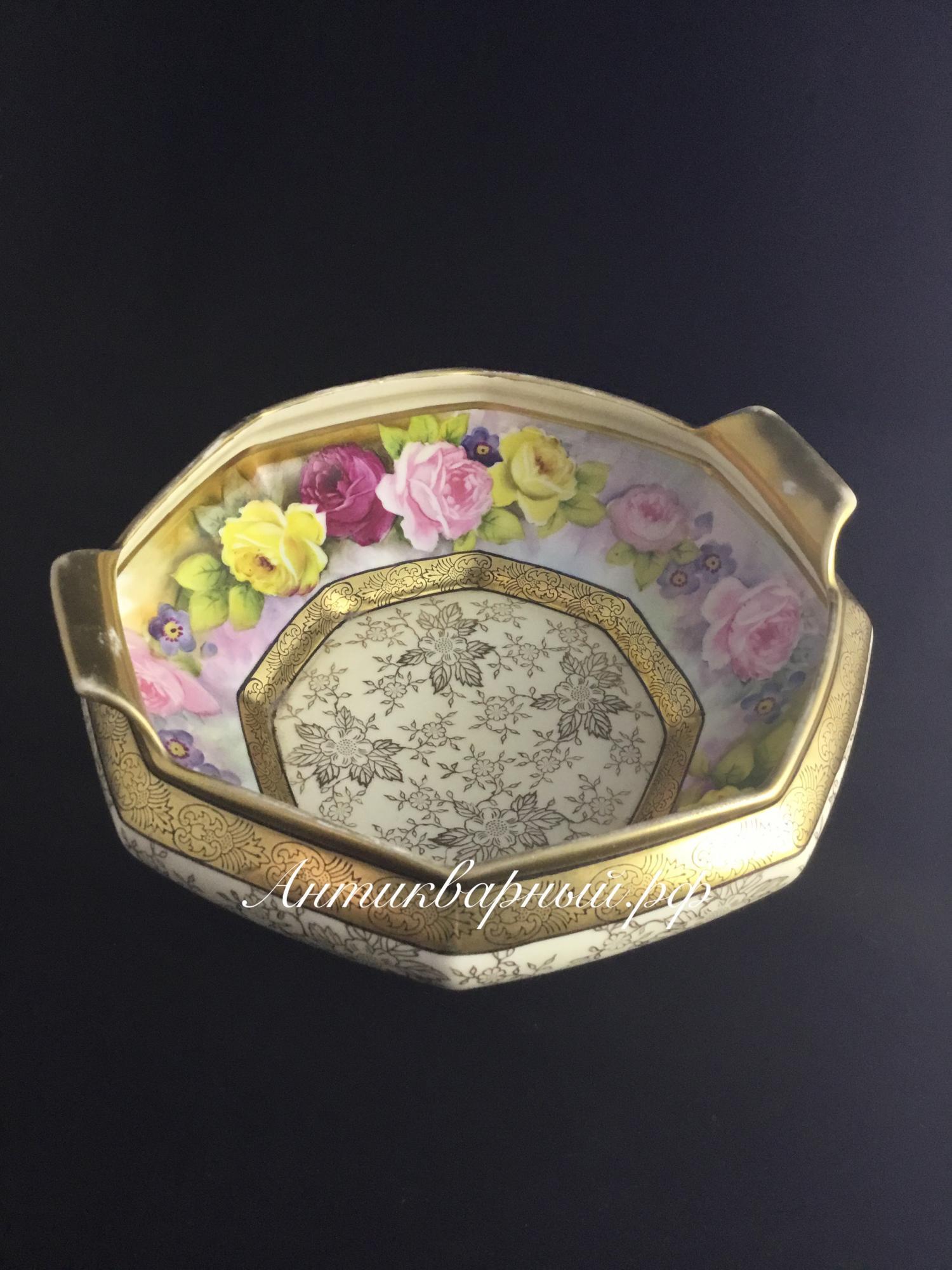 Фруктовница,ваза ручной росписи с золотом.Фарфор.Noritake.19век