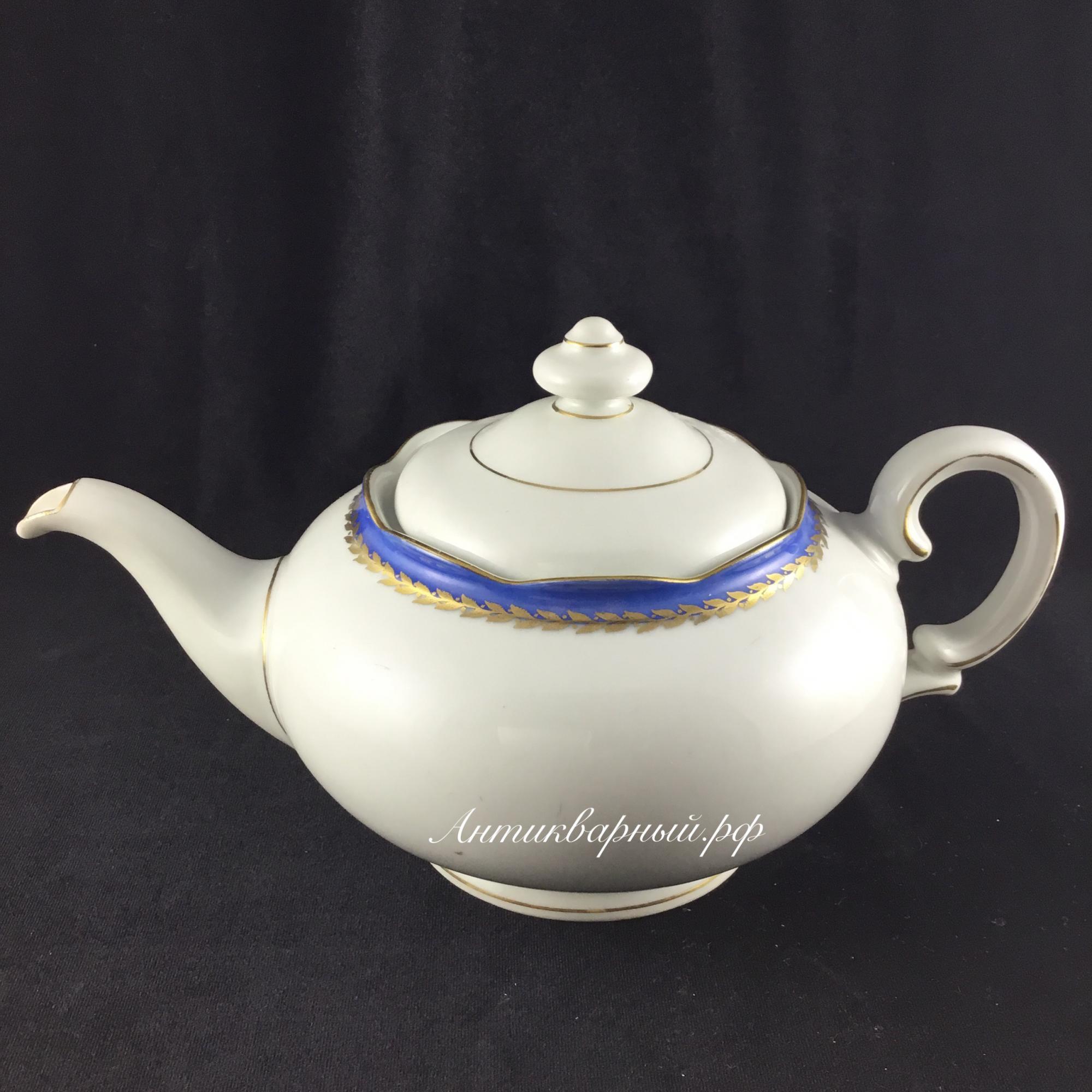 Чайник заварочный белый с синей полоской.KPM