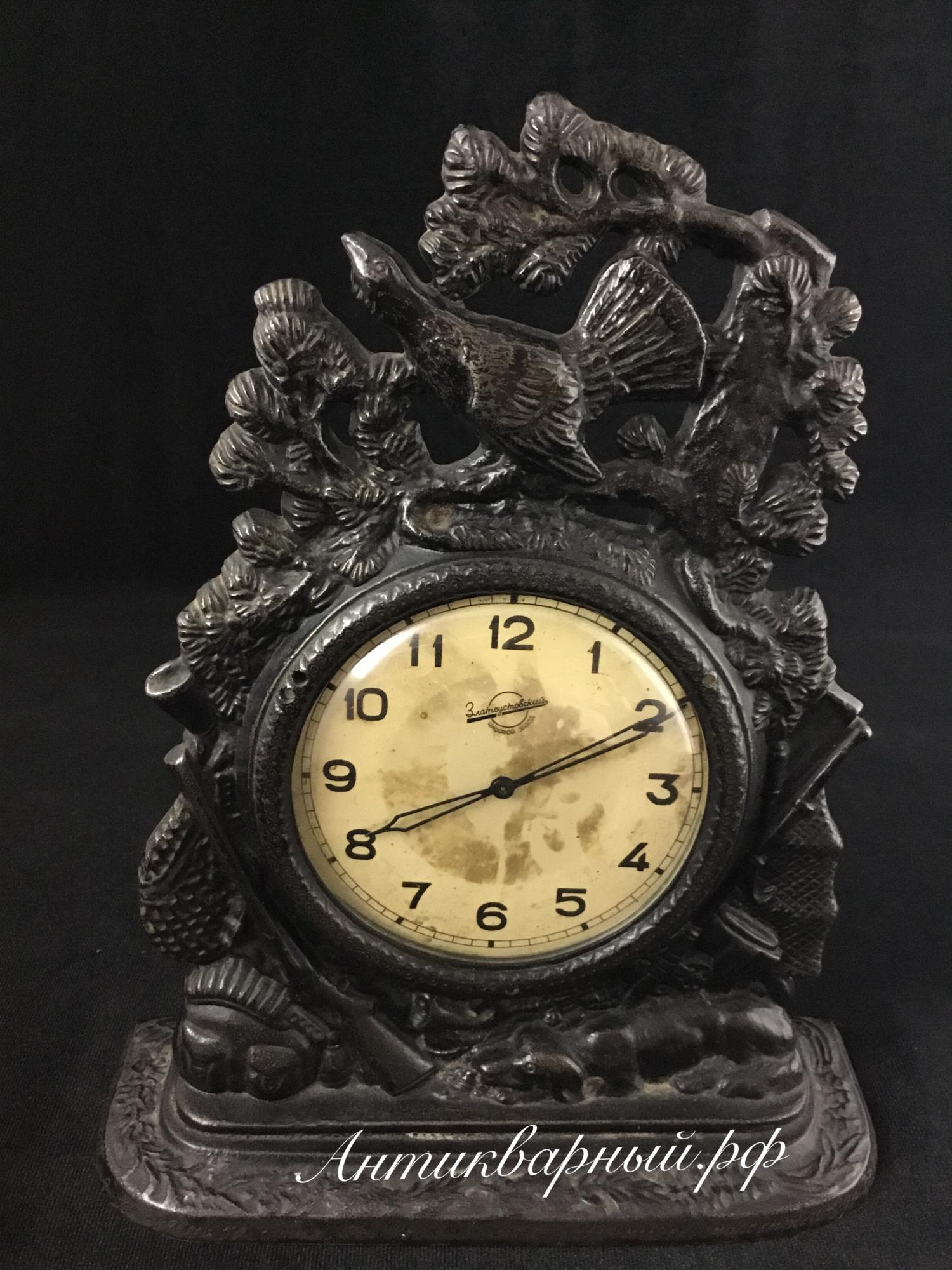 Часы Златоустовского завода с подчасником Куса 1957 года охота