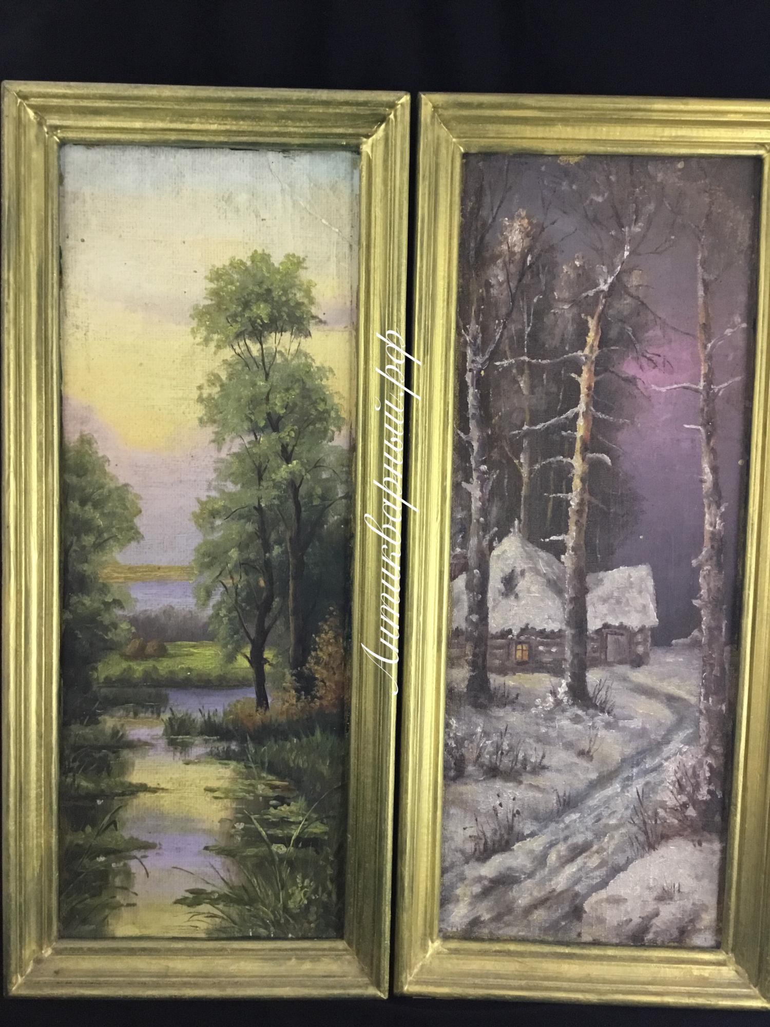 Старинные парные картины Зима и Лето. Масло/картон