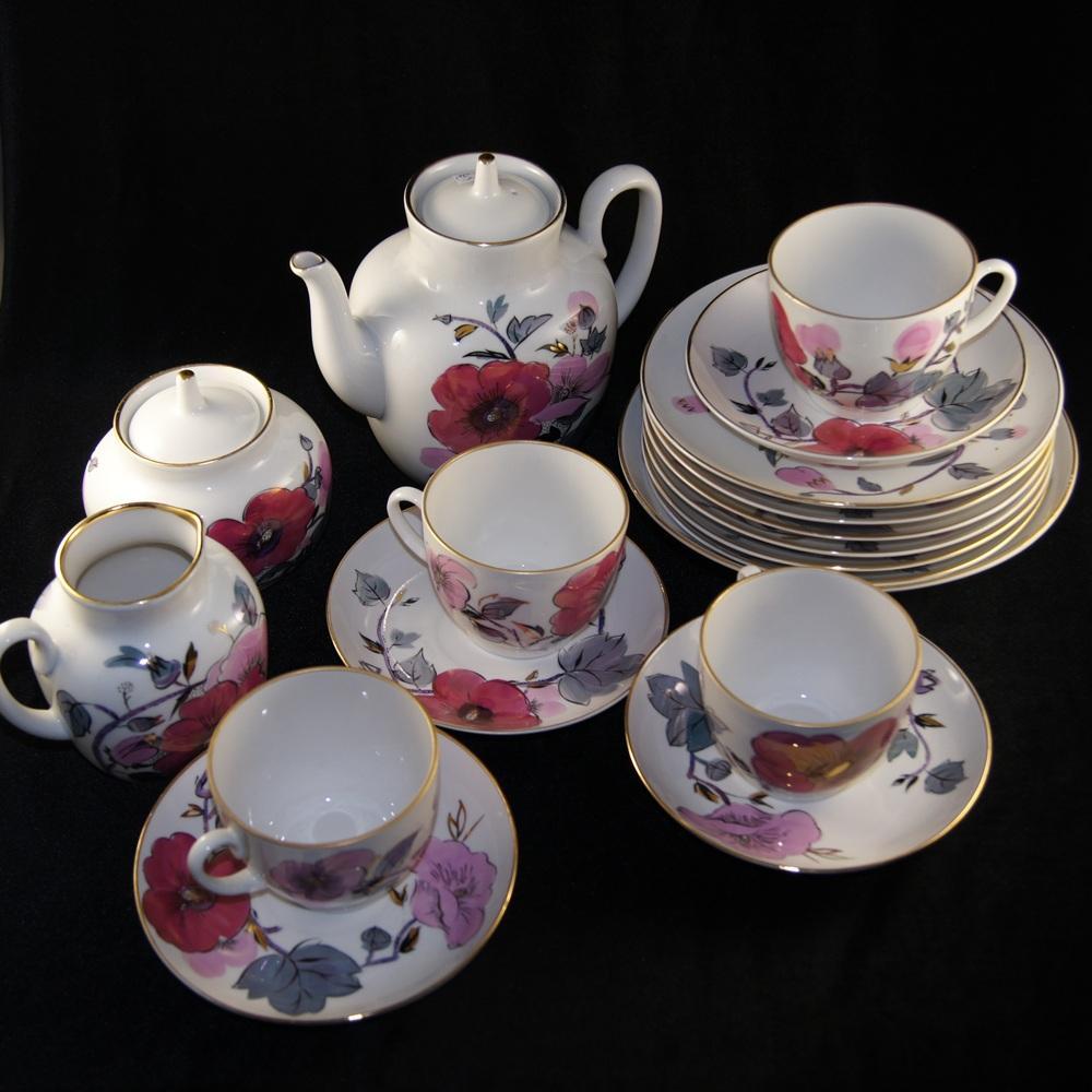 Сервиз чайный Розовая ветка. ЛФЗ. 70-е
