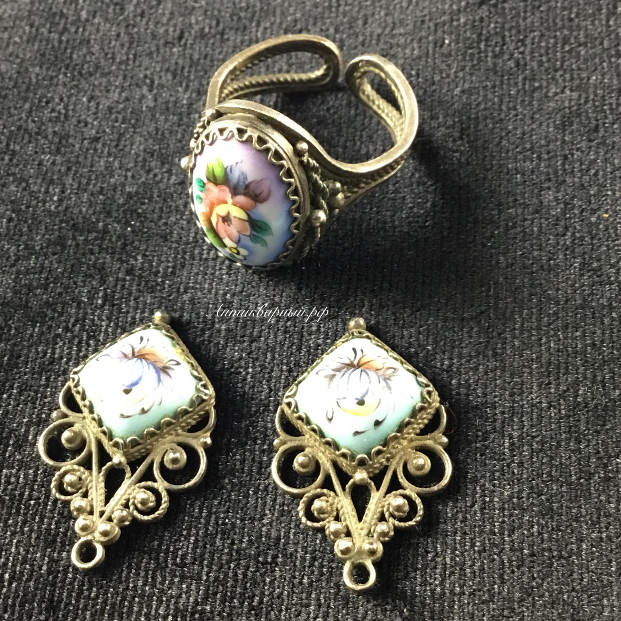 Комплект заготовки для серёжек и кольцо Эмаль, финифть, роспись