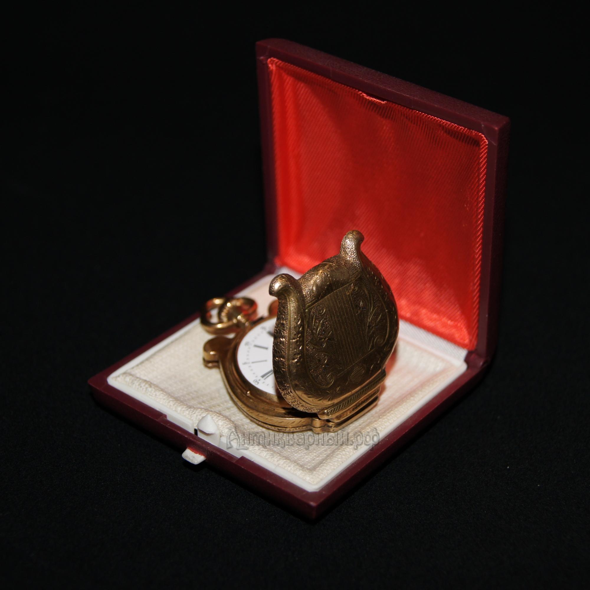 Золотые карманные часы Арфа. 56 проба