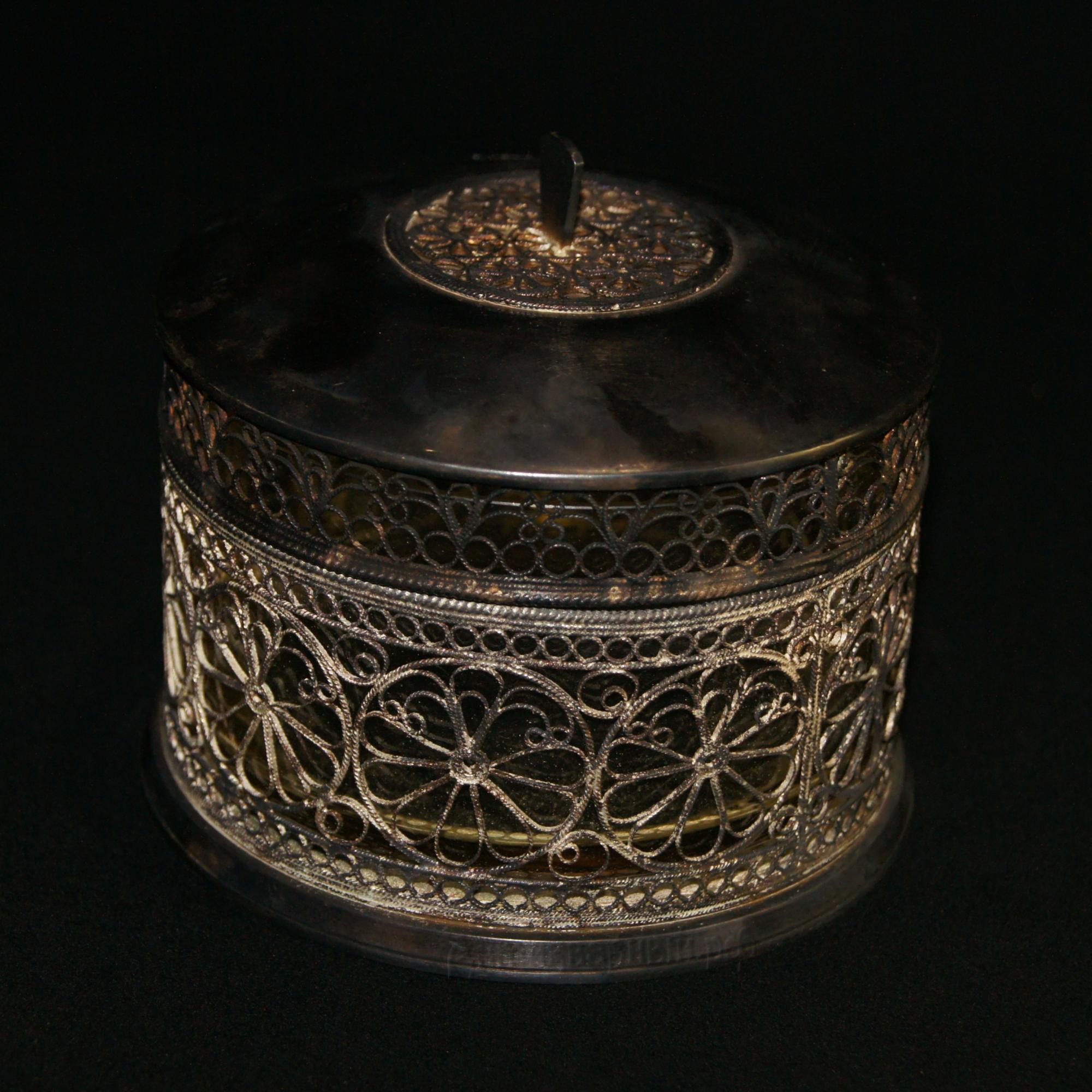 шкатулка стеклянная в мельхиоре