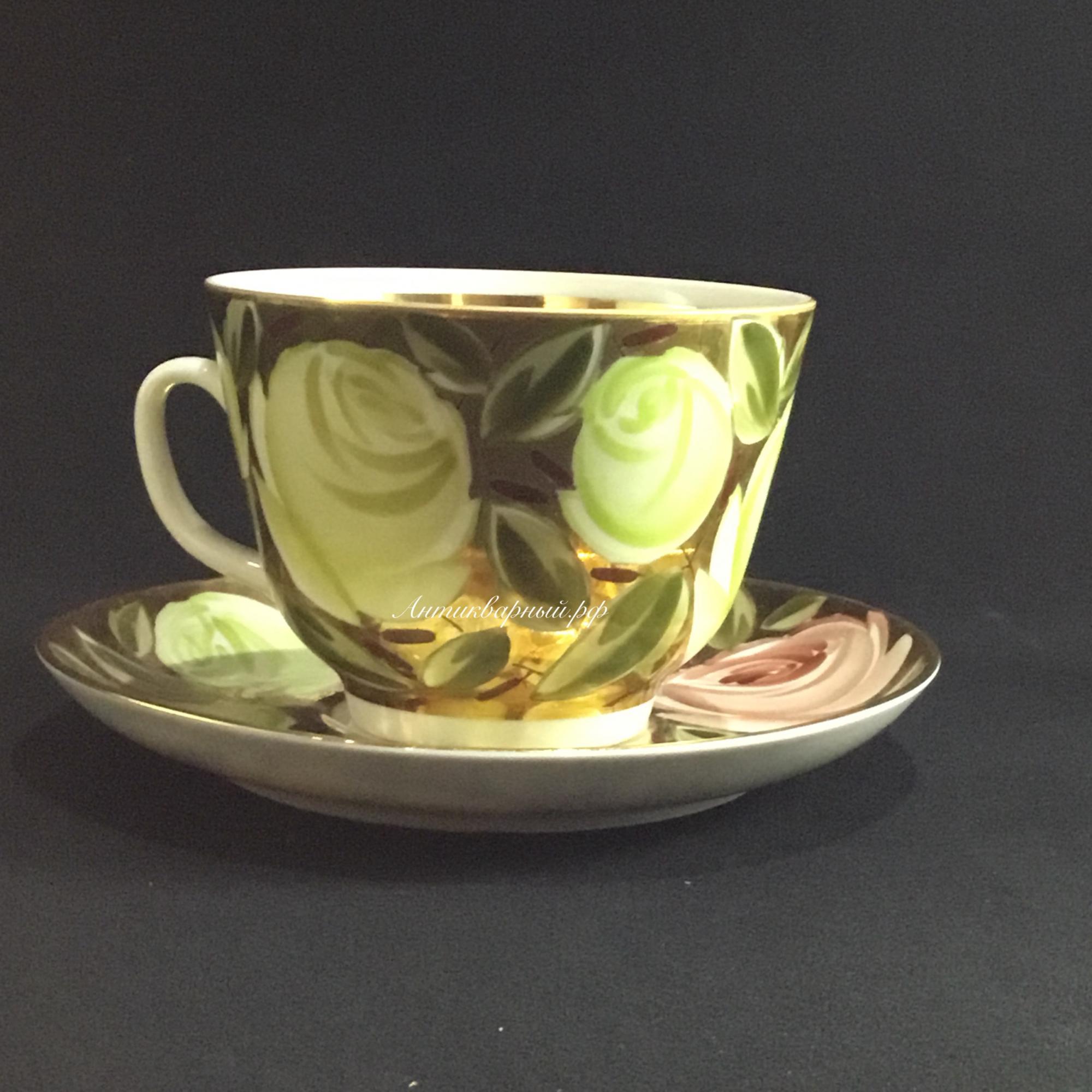 Чашка с блюдцем Розы ЛФЗ ручная роспись