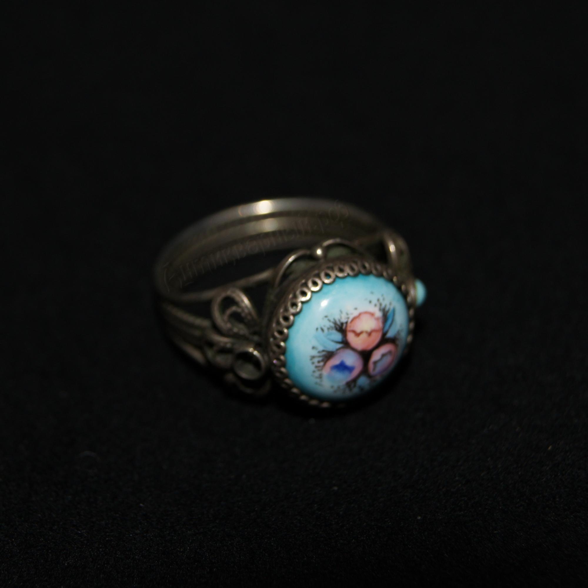 кольцо мельхиор с финифтью