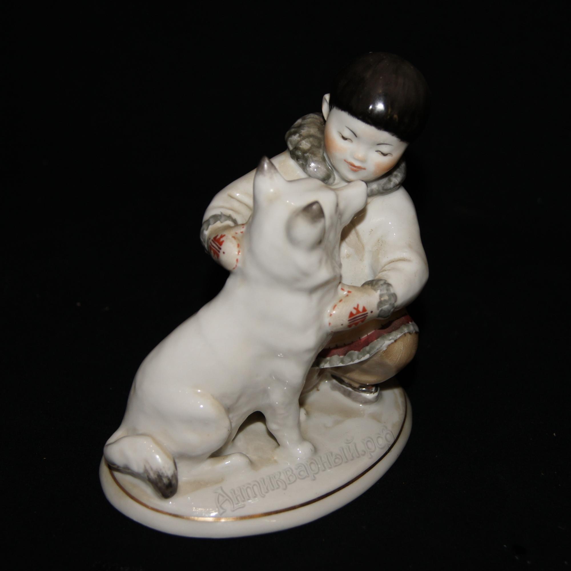 дружба. якутский мальчик с собакой. лфз