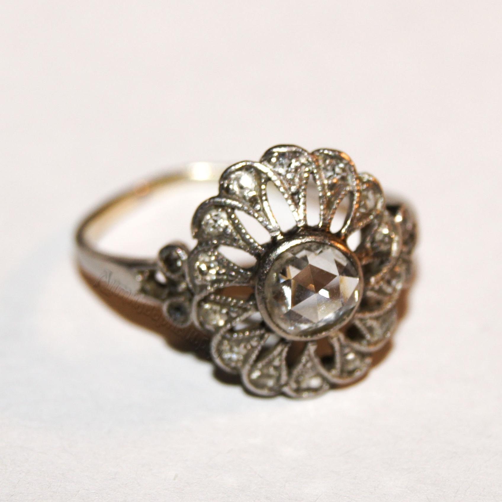Антикварное платиновое кольцо с алмазами