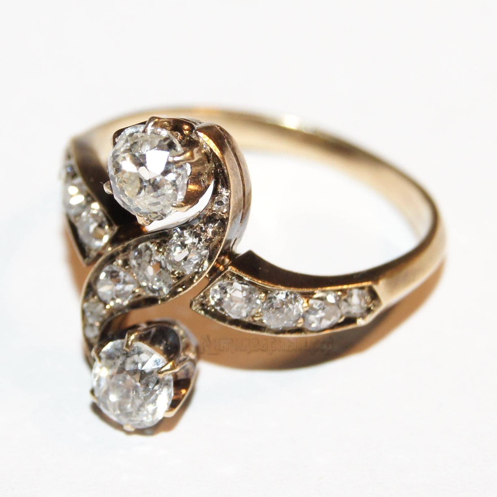 Старинное золотое кольцо с бриллиантами и алмазами