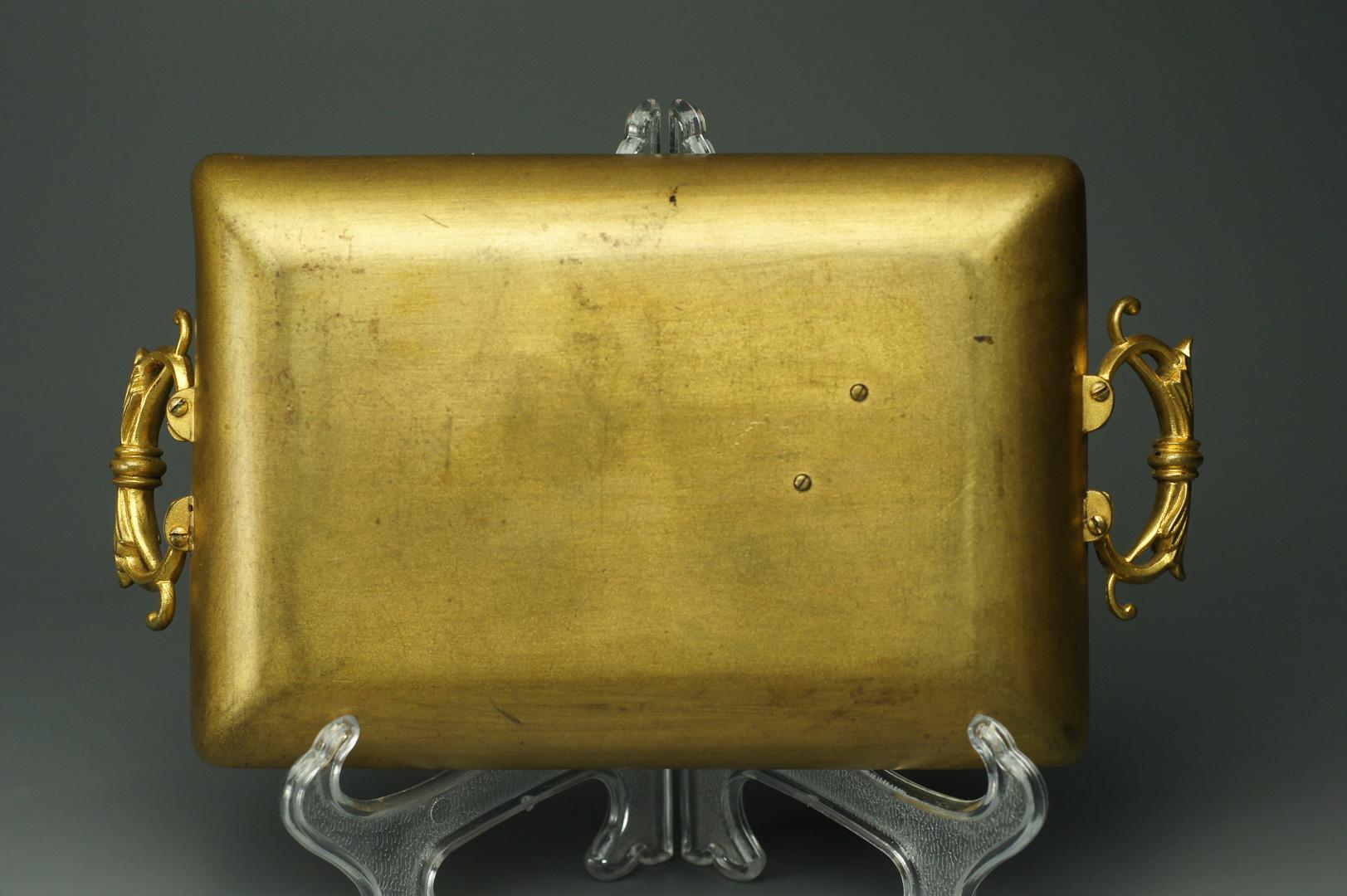 Старинный бронзовый лоток (поднос) с ручками