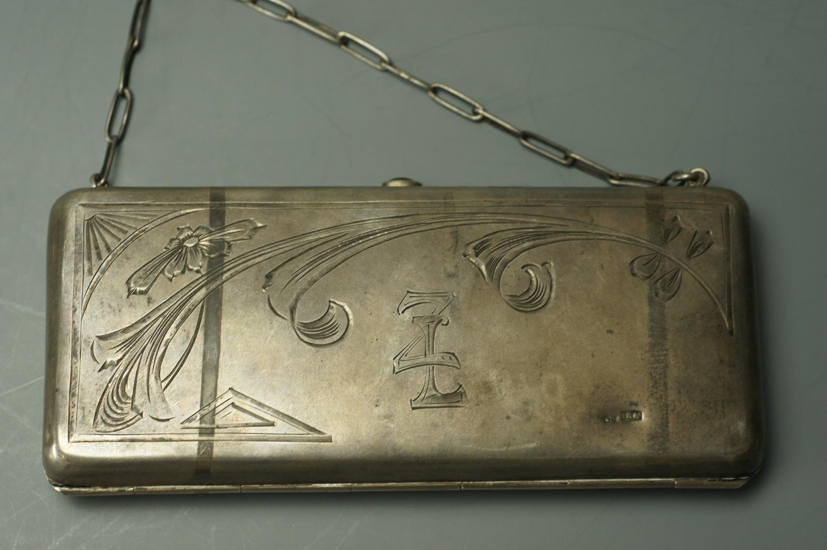 Кошелек сумочка серебряная на цепочке
