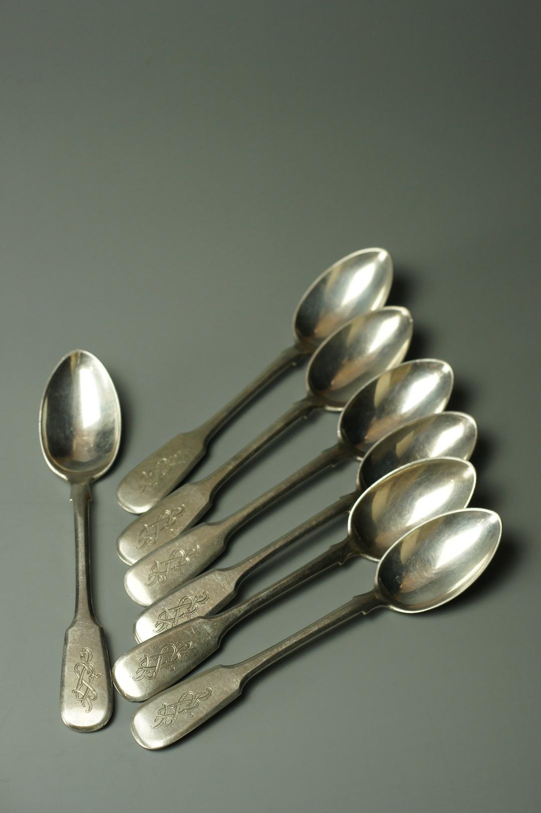 Набор из 6 серебряных ложек Овчинников