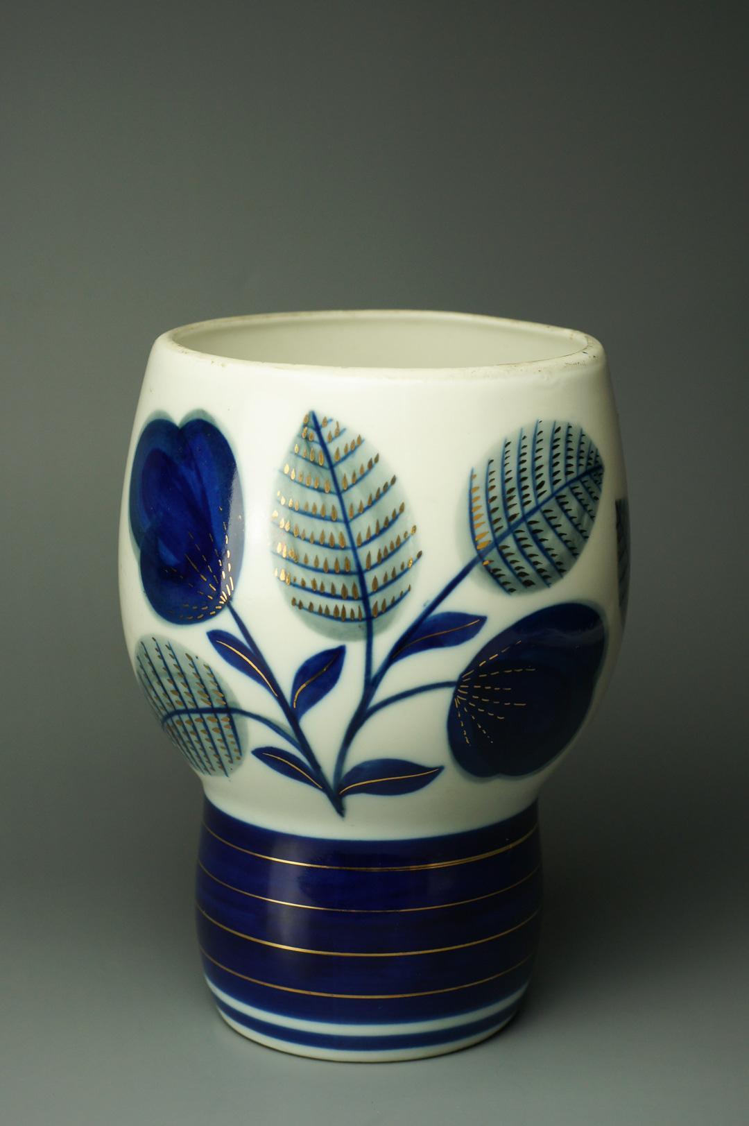 Ваза с широким горлом Синие цветы