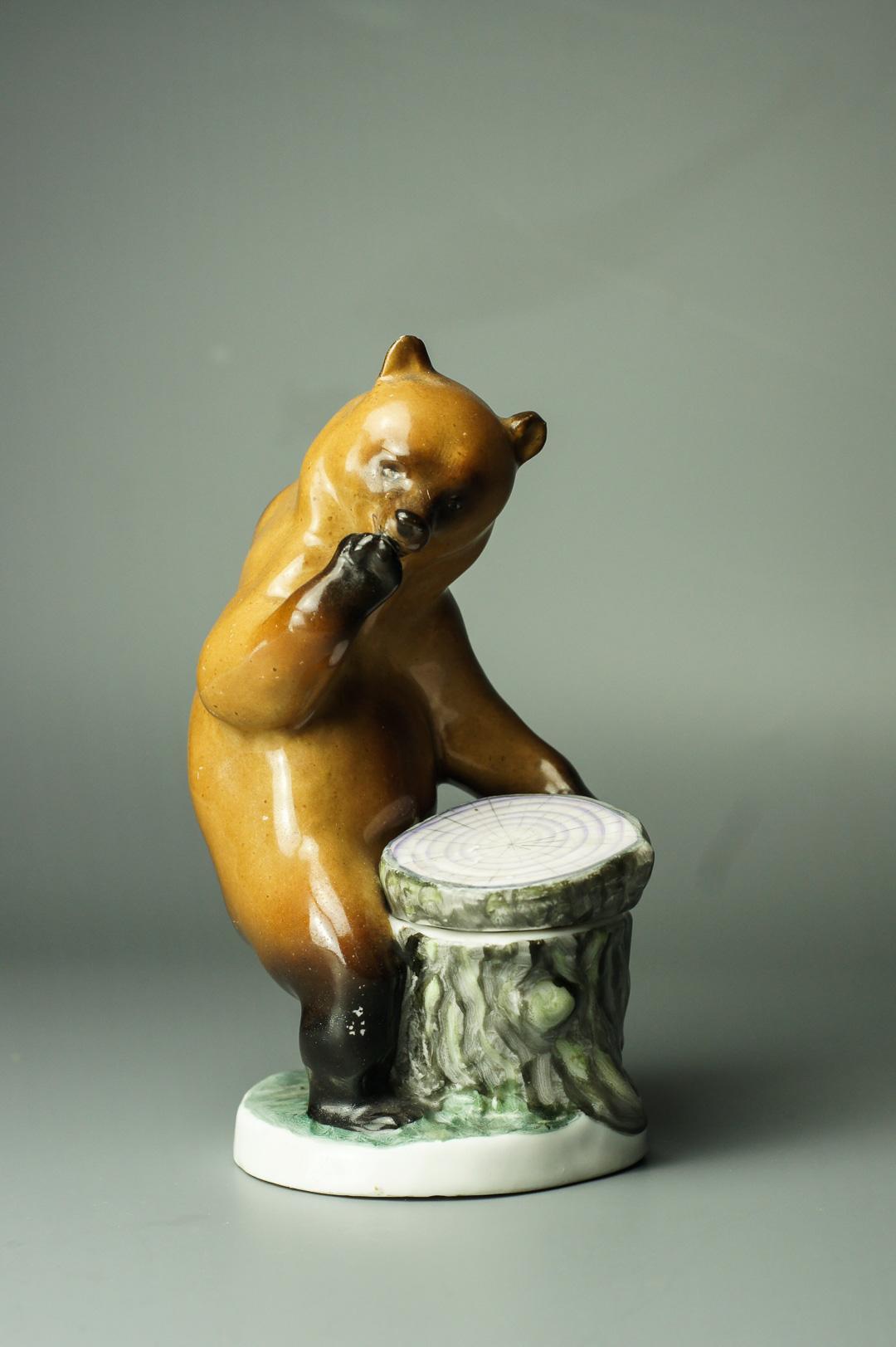 Чернильница Медведь у пня