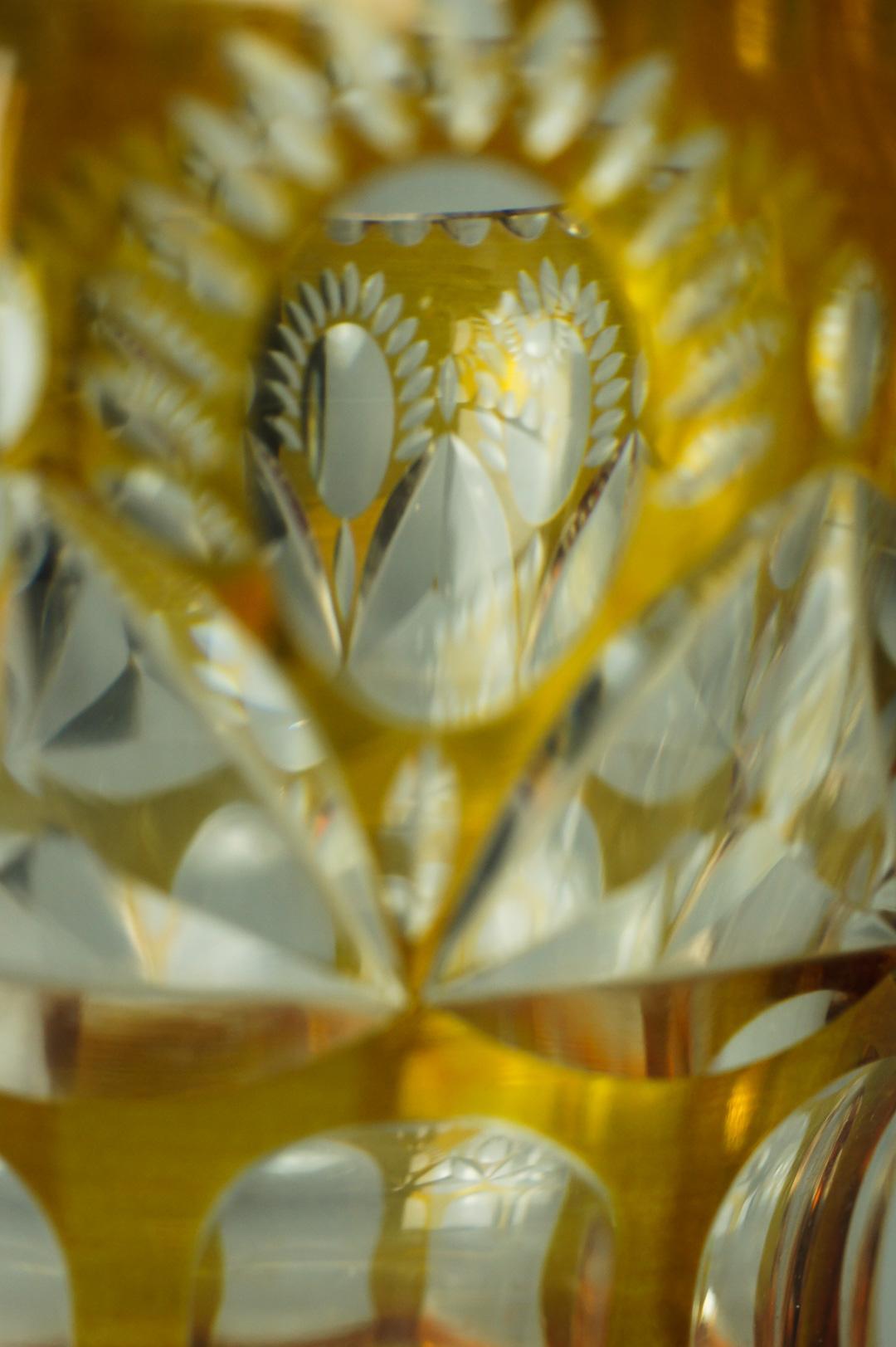Ваза цветной хрусталь желтая