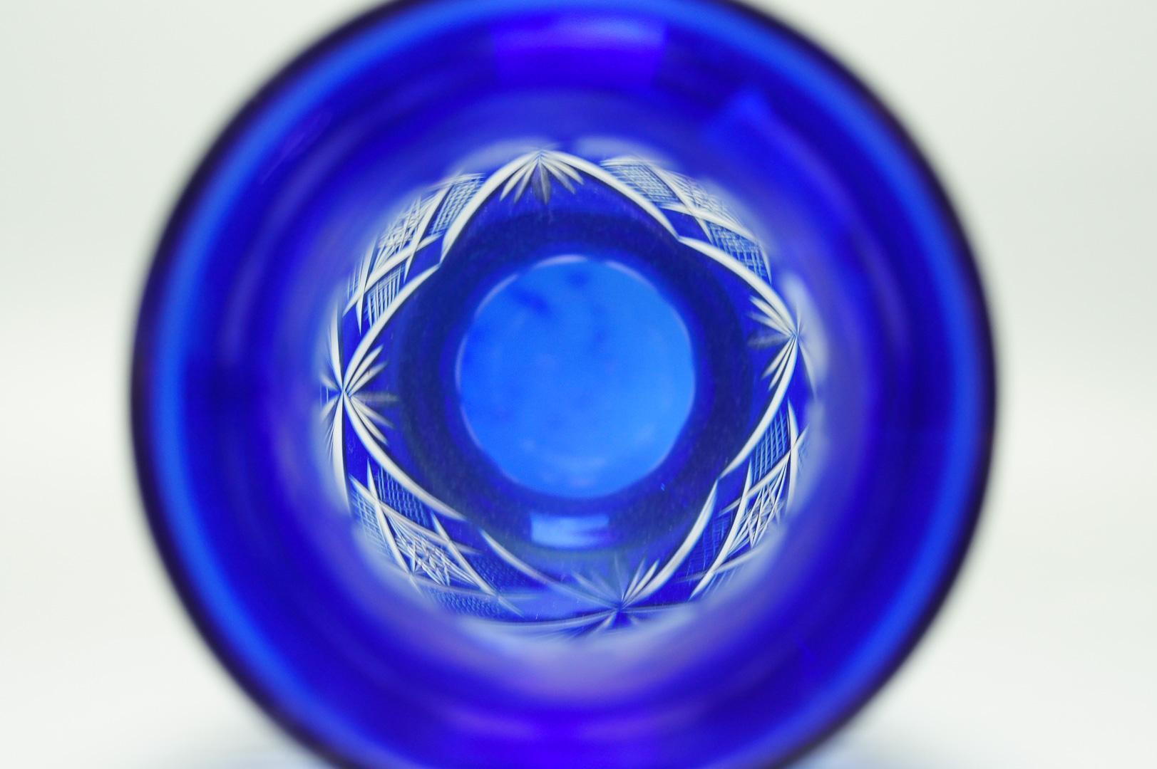 Ваза для цветов синий хрусталь