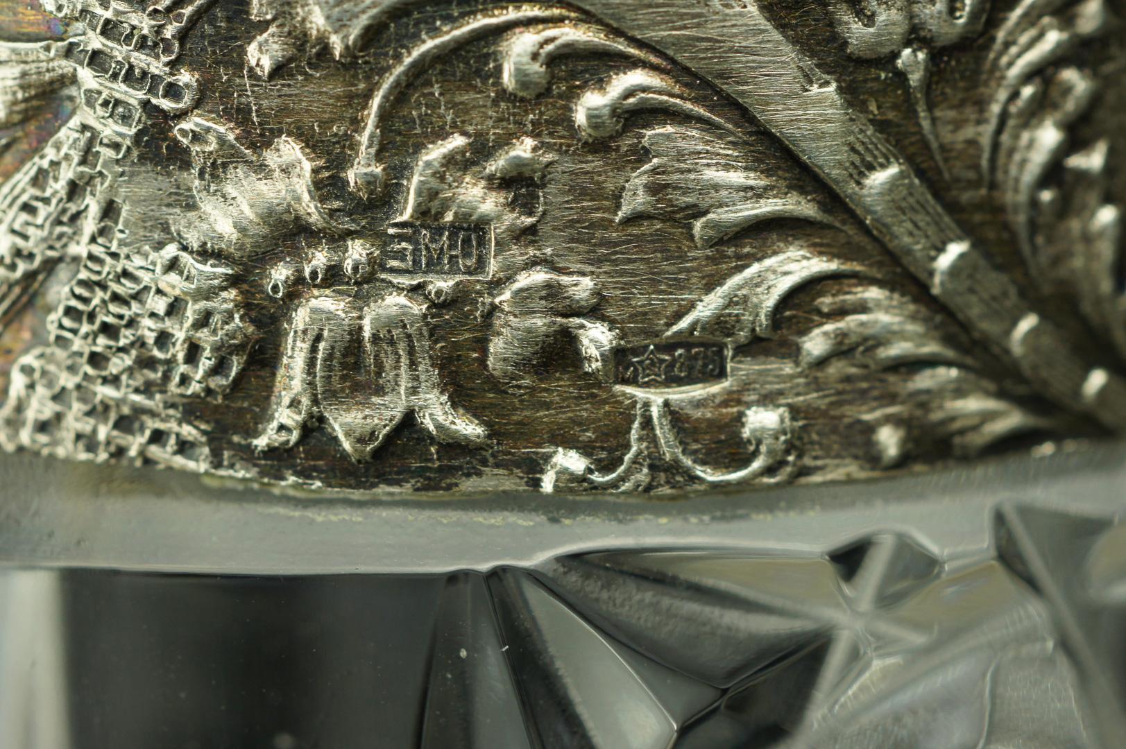 Ваза с серебряным ободком хрустальная