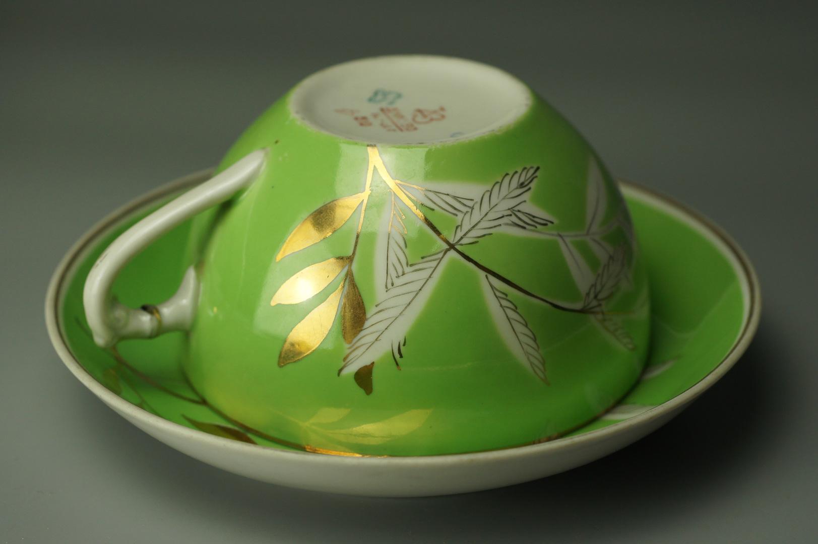 Чайная пара зеленая Дулево 1960-е