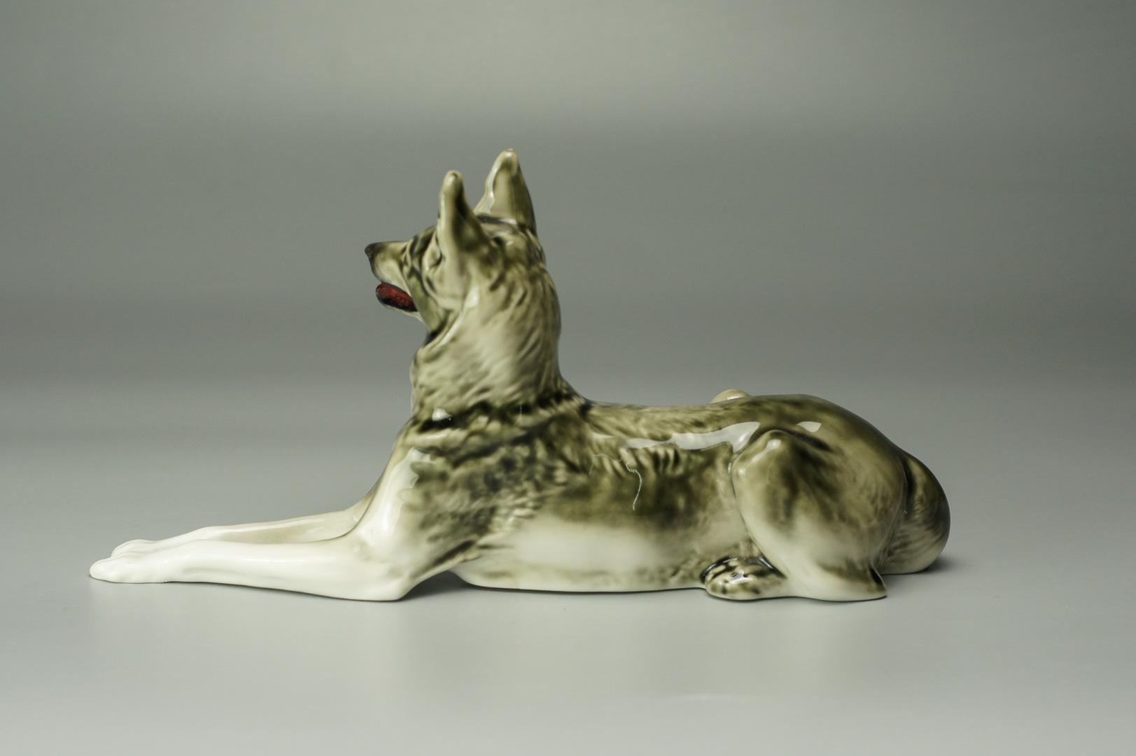 Статуэтка Немецкая овчарка маленькая глянцевая лфз