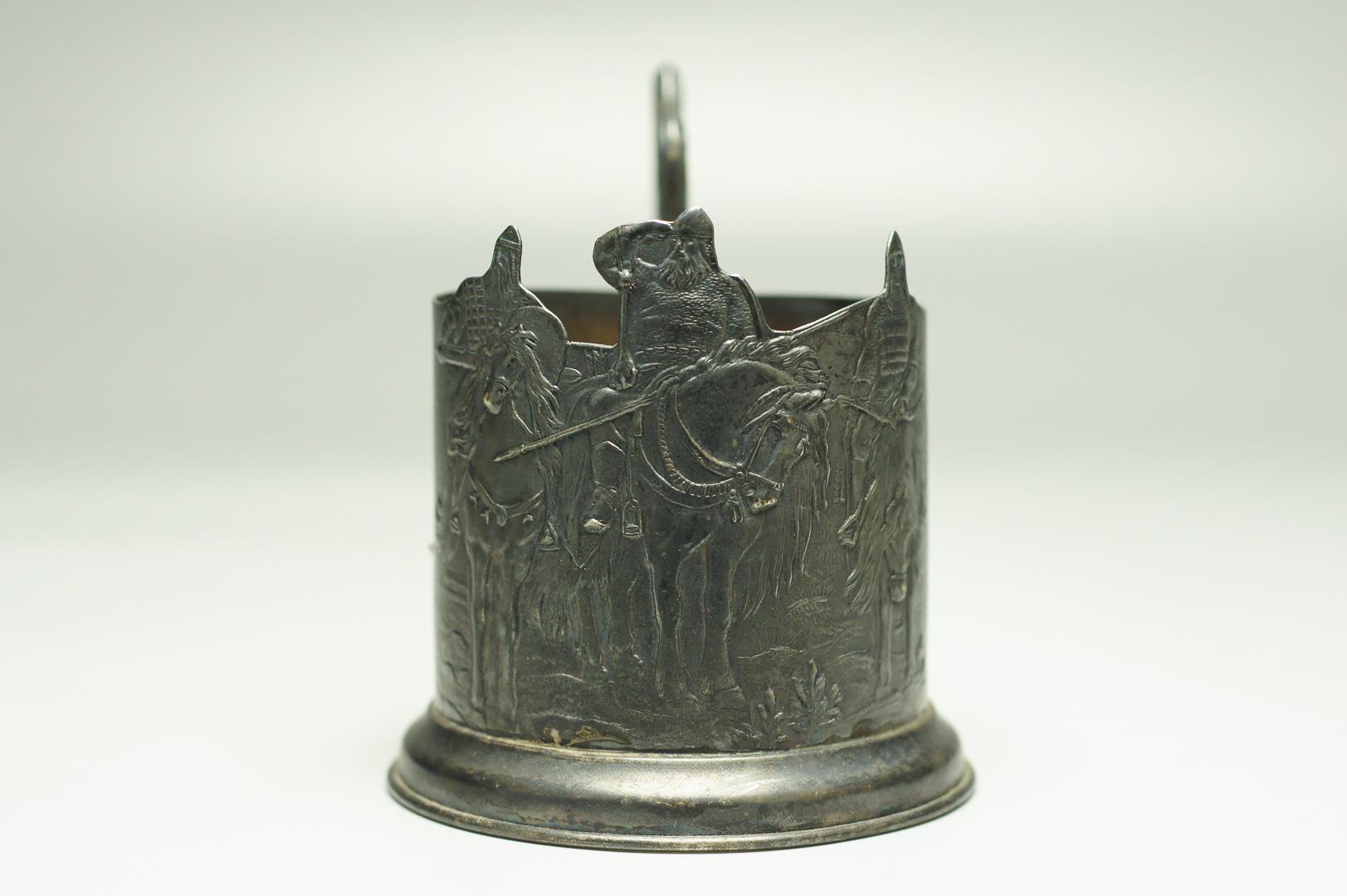 Подстаканник Три богатыря серебро