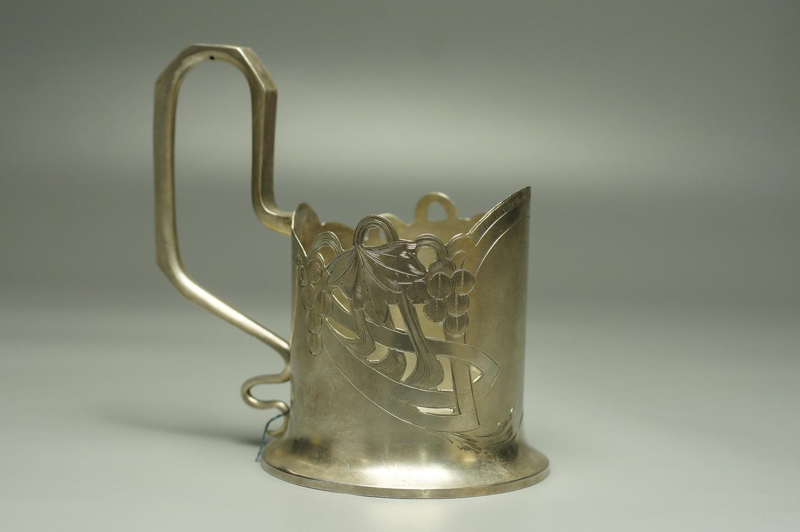 Подстаканник Виноградная лоза серебро