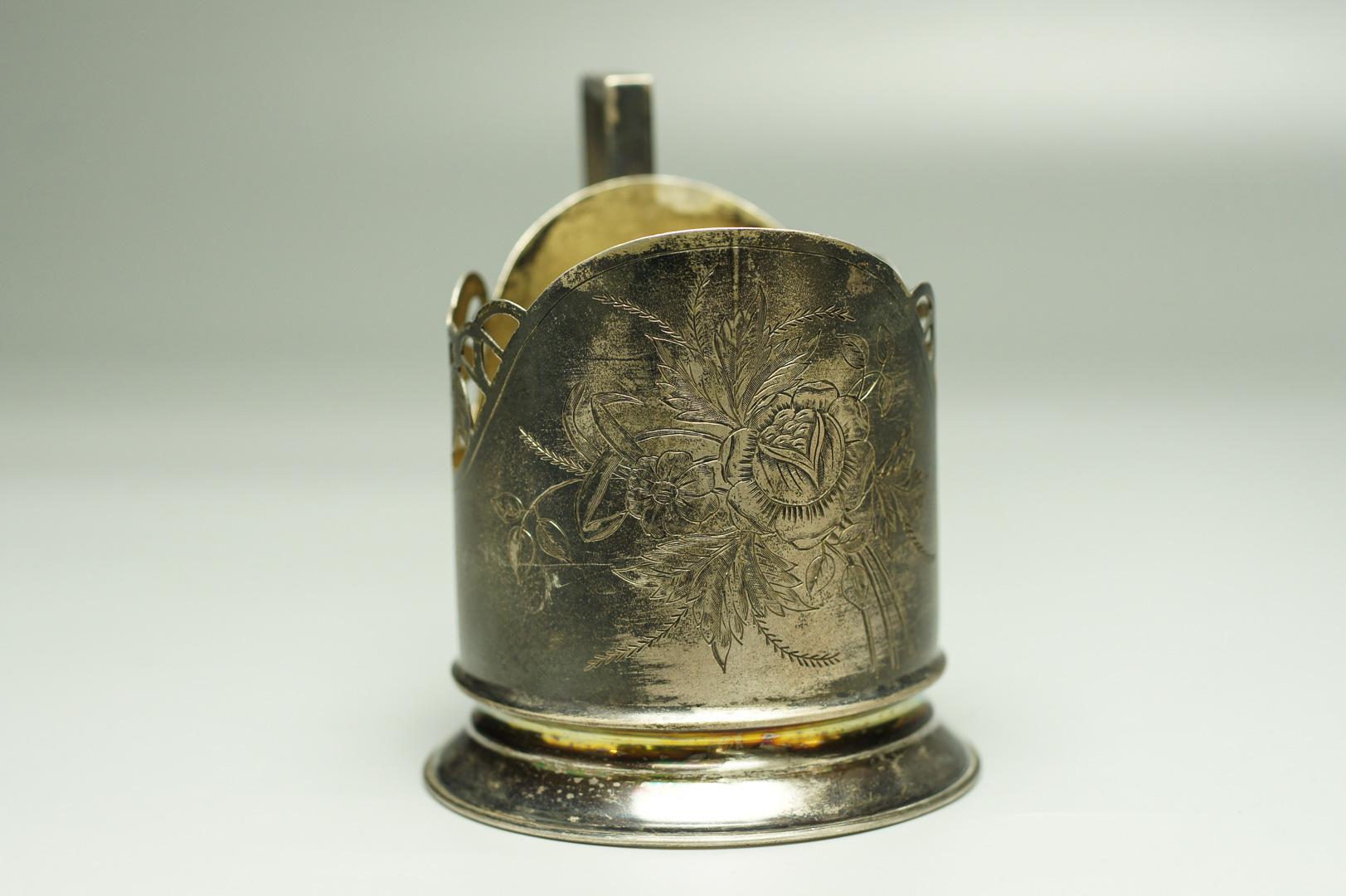 Подстаканник букет цветов серебро