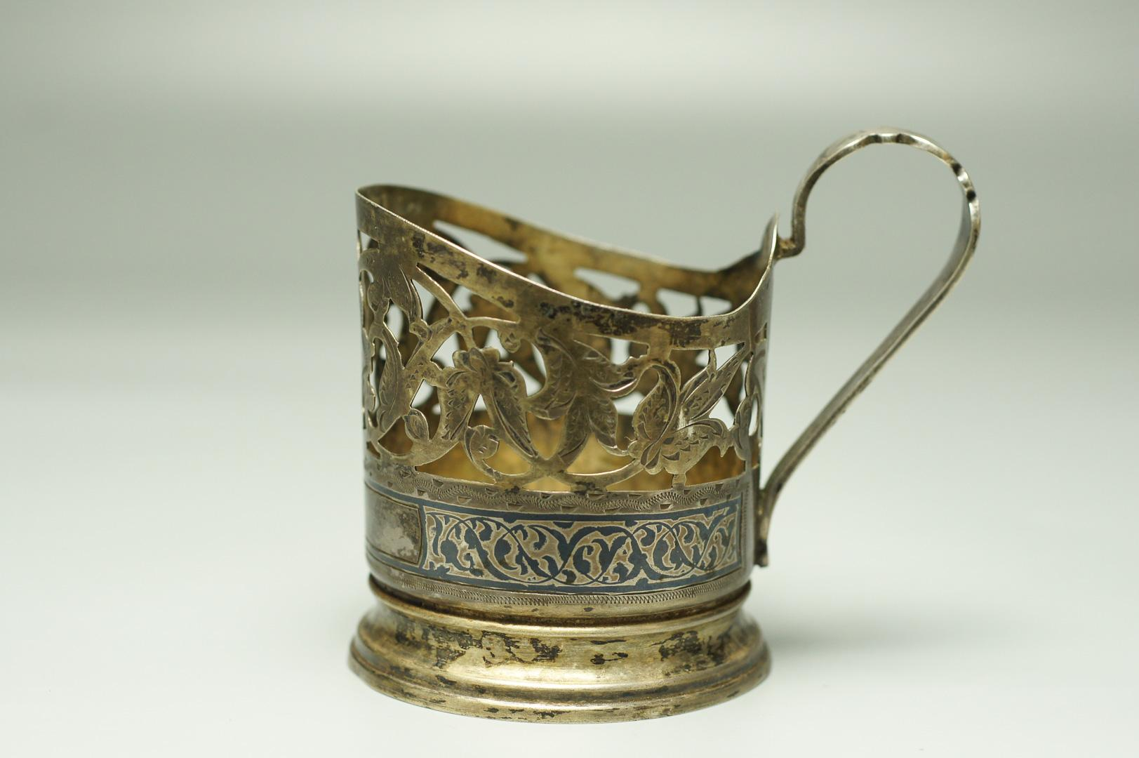 Подстаканник серебро Кубачи ромб и лента