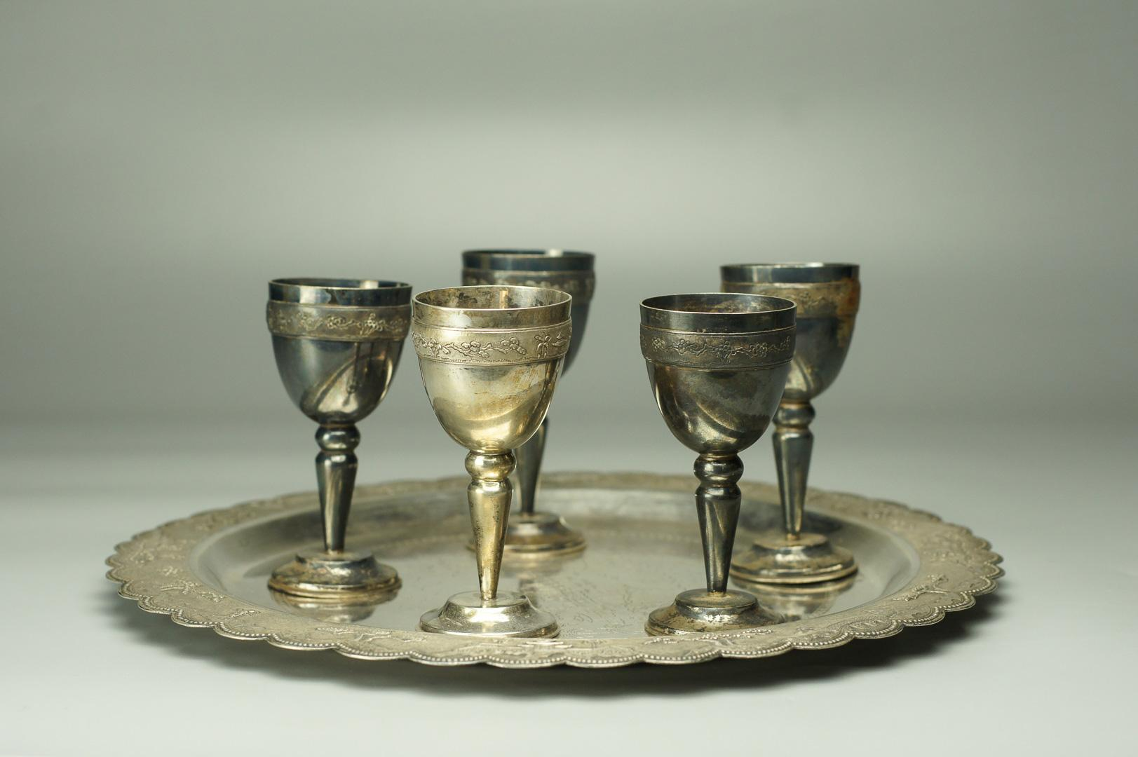 Ликерный набор графин и 6 рюмок на подносе серебро