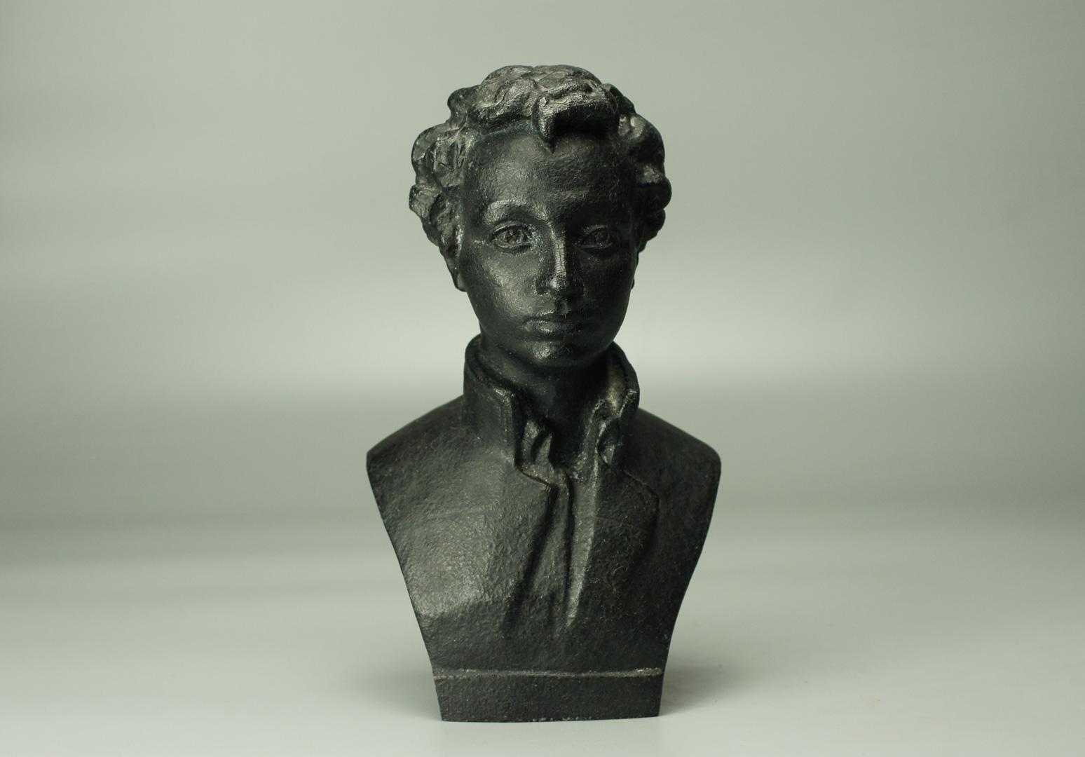 Бюст Пушкин лицеист металл