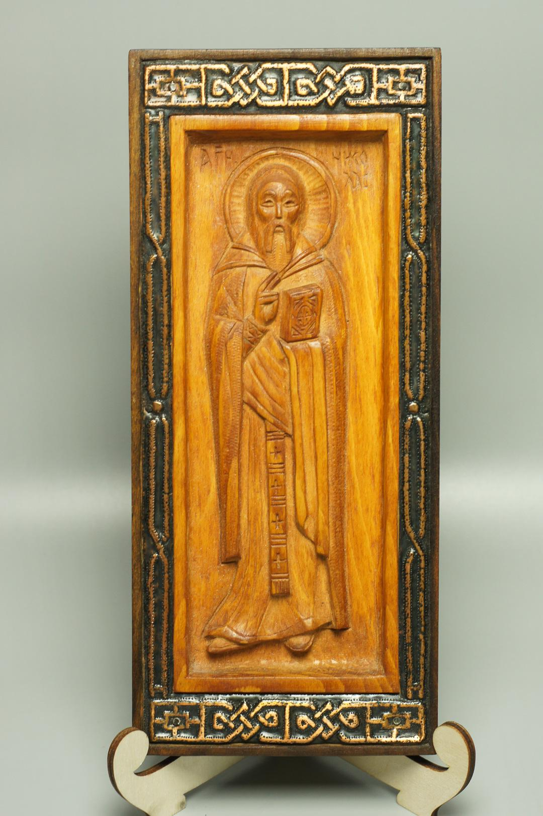 Икона деревянная резная Святой Николай