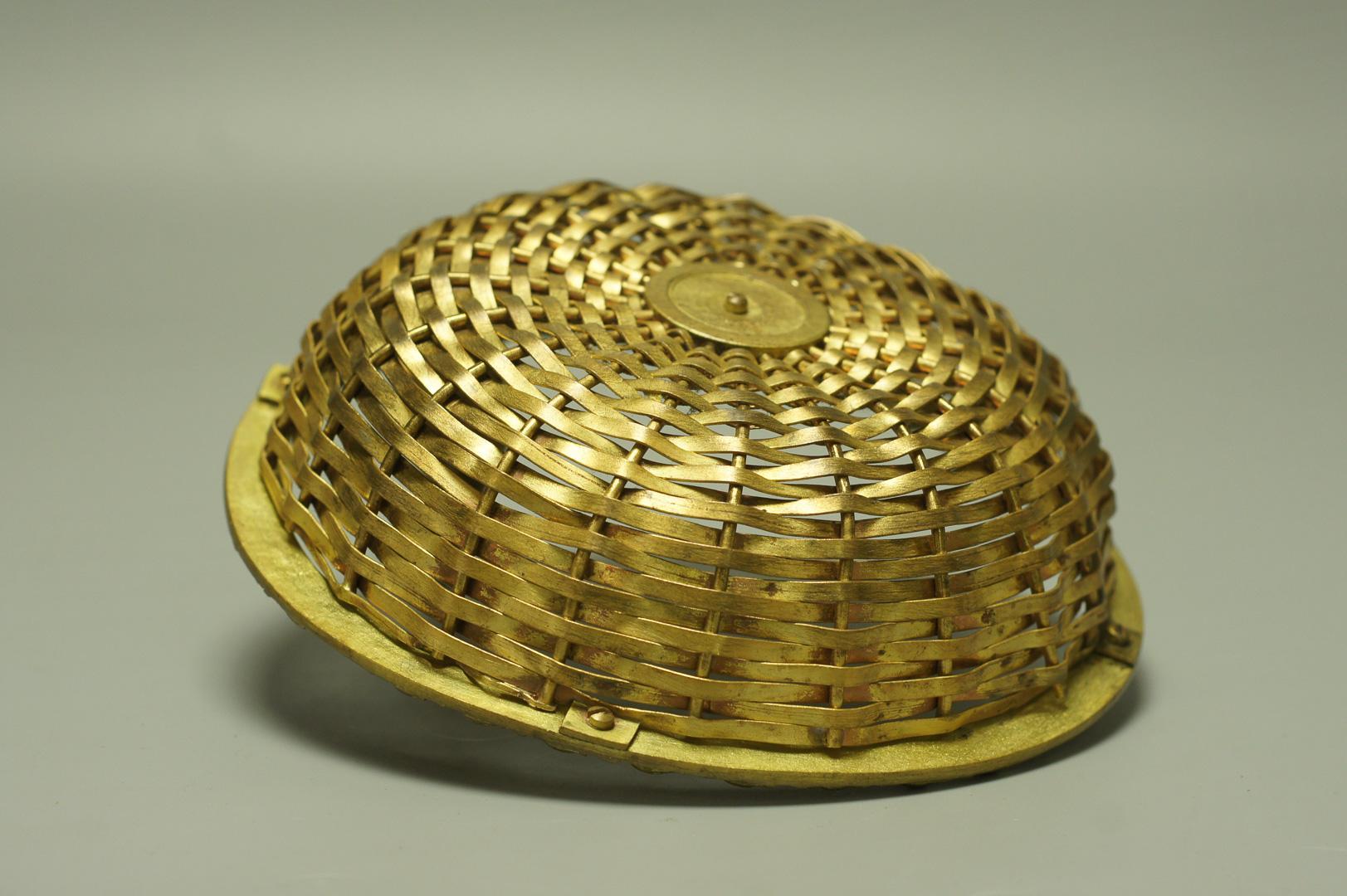 Корзинка ваза плетёная попугай бронза латунь