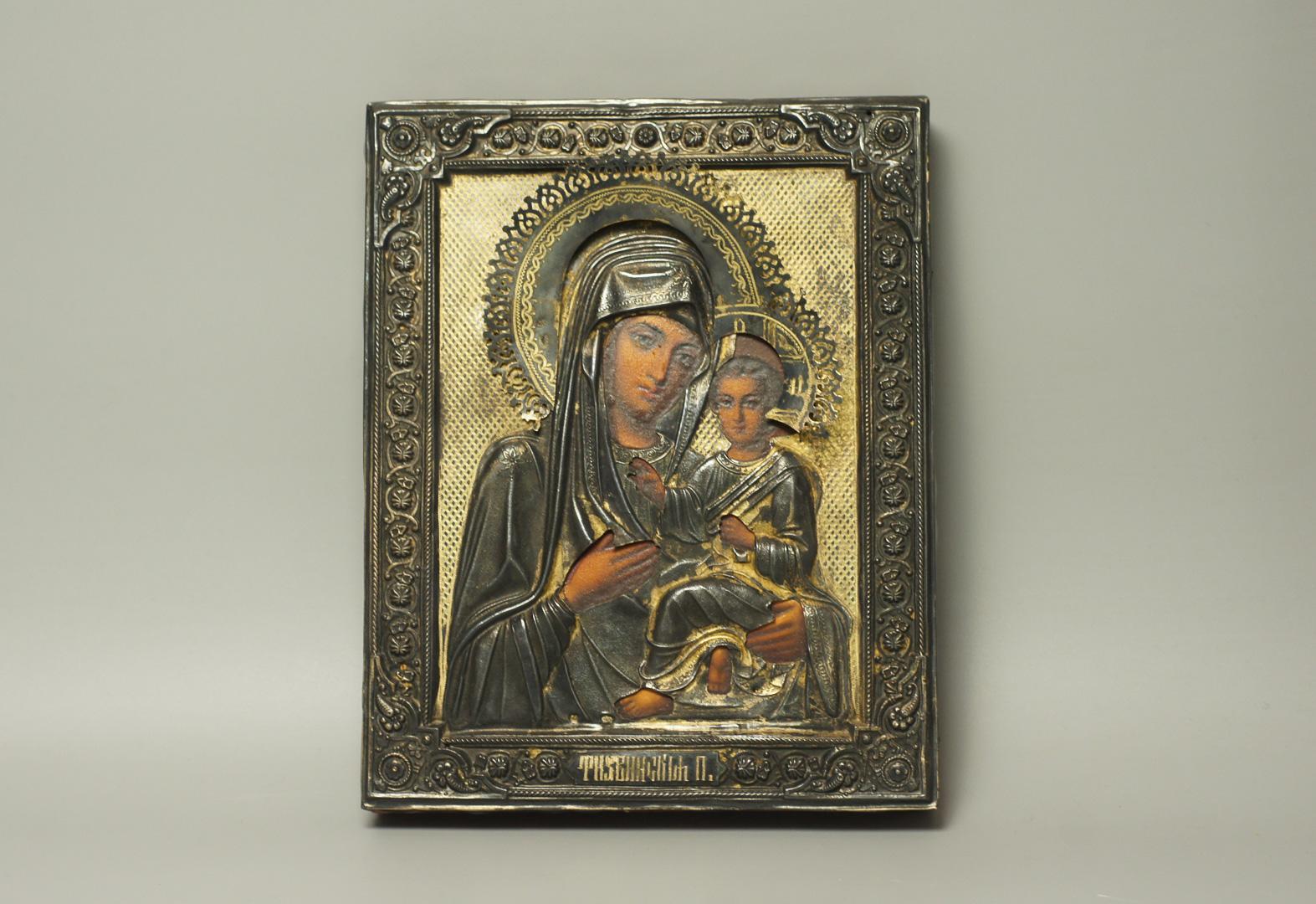 Икона образ Богоматери Тихвинской серебро
