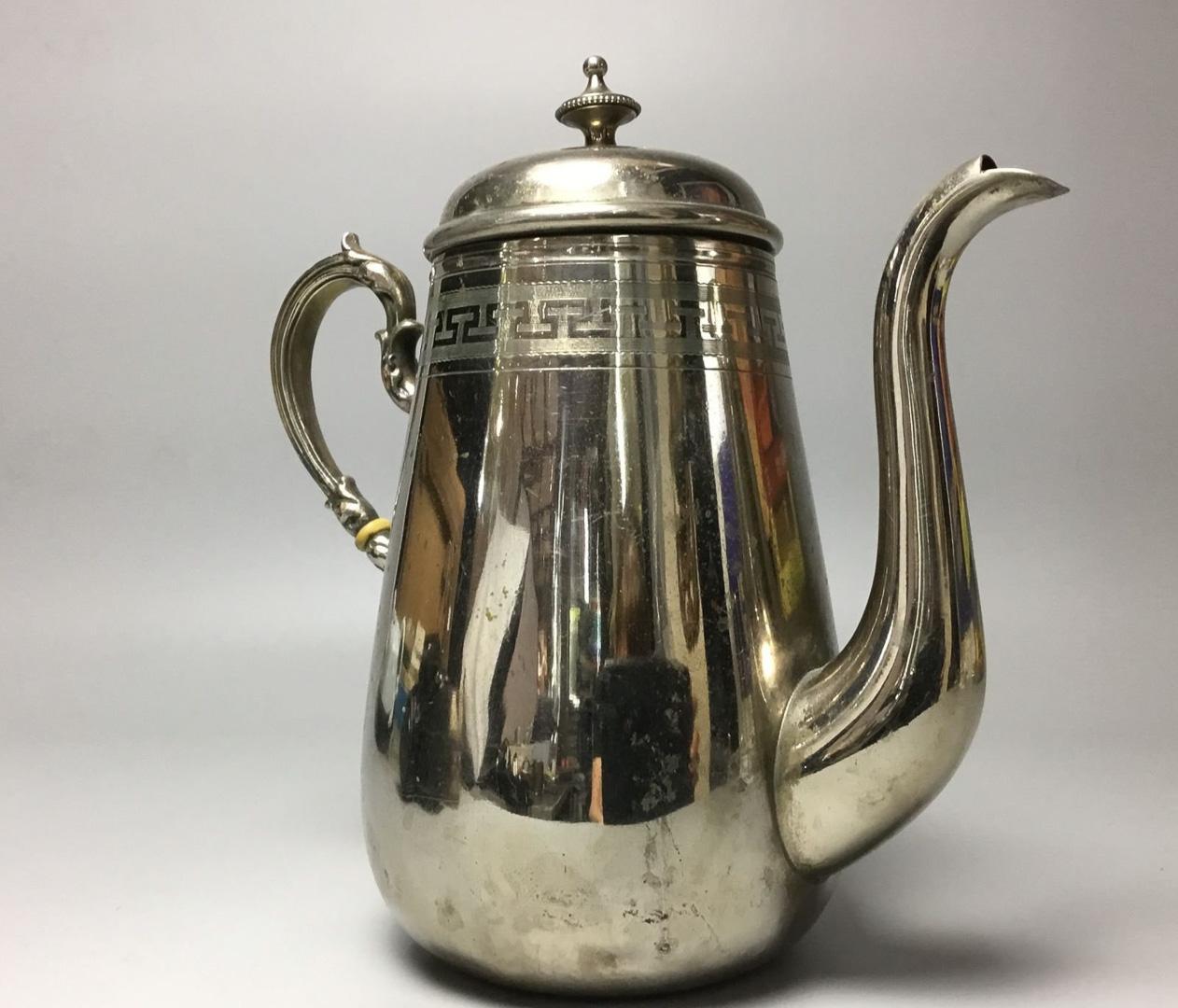 Кофейник металл серебрение Варшава модерн